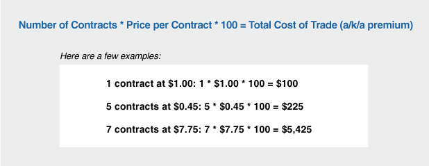 Options Contracts Cost Calculation